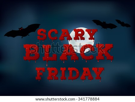 Scary black friday sale inscription design template. Bloody font on moon texture. inter outlet, sale, Black Friday concept. Vector illustration - stock vector