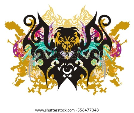 Scary butterfly splashes. Grunge terrible butterfly with gold splashes, floral elements, colorful drops and the lion's head
