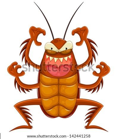 scary cartoon cockroach - stock vector