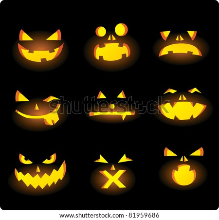 Scary carved pumpkins faces - stock vector