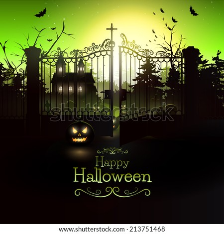 Scary church in the woods - Halloween flyer - stock vector