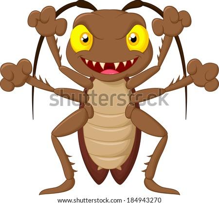 Scary cockroach cartoon - stock vector