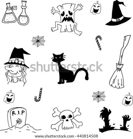 Scary element halloween doodle on white backgrounds