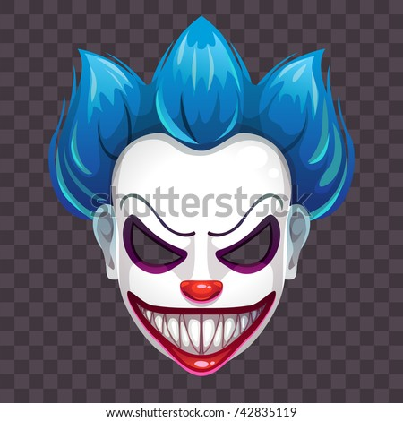 scary evil clown mask on transparent stock vector 742835119