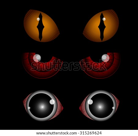 Scary eyes, Halloween illustration, vectors - stock vector