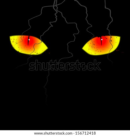 Scary eyes on the black background - stock vector