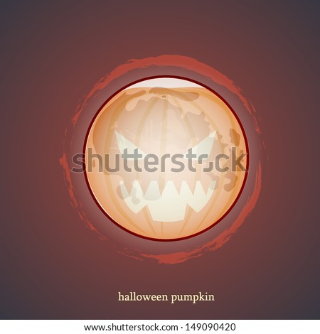 Scary face of halloween pumpkin on a round moon. Vector red bloody background