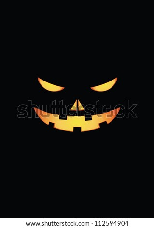 Scary face of halloween pumpkin. Vector - stock vector