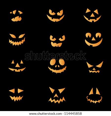 Scary faces of Halloween pumpkin. Vector - stock vector