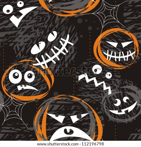 scary faces on dark background halloween seamless pattern - stock vector