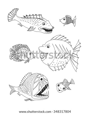 scary fish. hand drawn