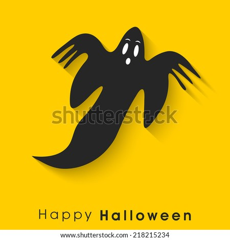 Scary flying ghost on bright yellow background for Happy Halloween party poster, banner or flyer design.  - stock vector