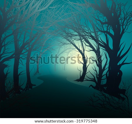 scary forest with light, park lane at night with mystery yellow light, halloween mystery, vector - stock vector