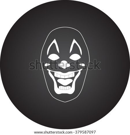 Scary fun clown mask simple icon on colorful round background