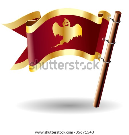 Scary ghost icon on red and gold vector flag good for use on websites, in print, or on promotional materials