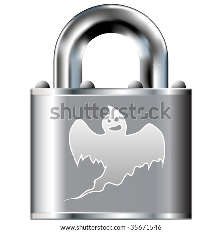 Scary ghost icon on secure vector lock button. Suitable for use on websites, in print, and on brochures.