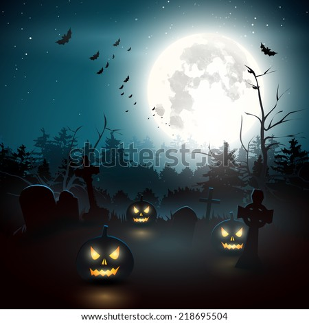 Scary graveyard in the woods . Halloween background - stock vector