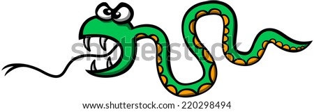 Scary green snake showing an aggressive mode, wide opening its mouth, sticking its forked tongue out, showing its sharp fangs and forming waves with its body while attacking violently - stock vector