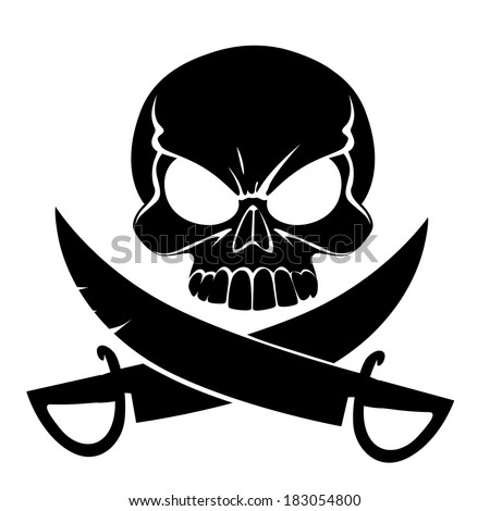 Scary grinning skull with sabers isolated on white background - stock vector