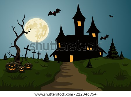 Scary Halloween background scene with castle and full moon - stock vector