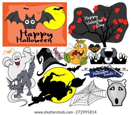 Scary Halloween Graphics - stock vector