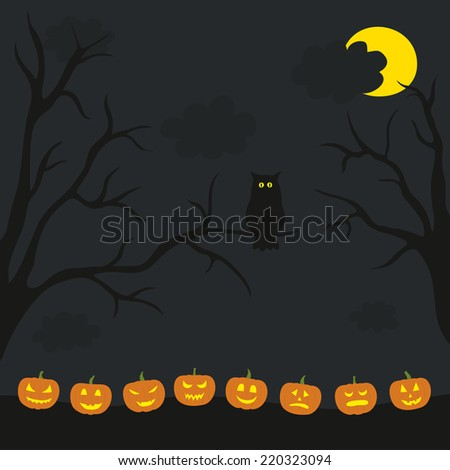 Scary  halloween illustration. Night, owl on the branch, pumpkins, moon. - stock vector