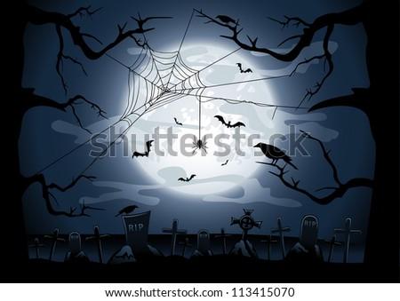 Scary Halloween night background, illustration - stock vector