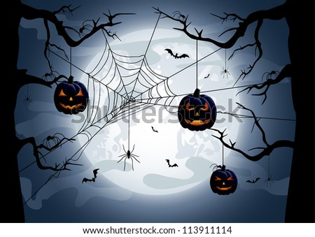 Scary Halloween night background, illustration - stock vector