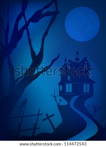 Scary Halloween night background with haunted house. EPS 10.