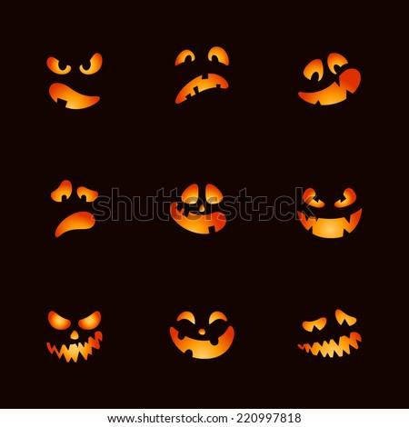 Scary Halloween pumpkin face set - stock vector