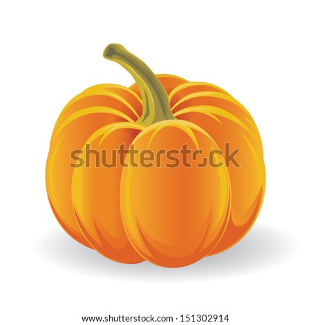Scary Halloween pumpkin isolated on white  - stock vector