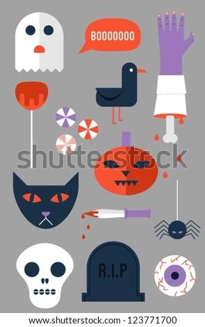Scary Halloween Stuff - stock vector