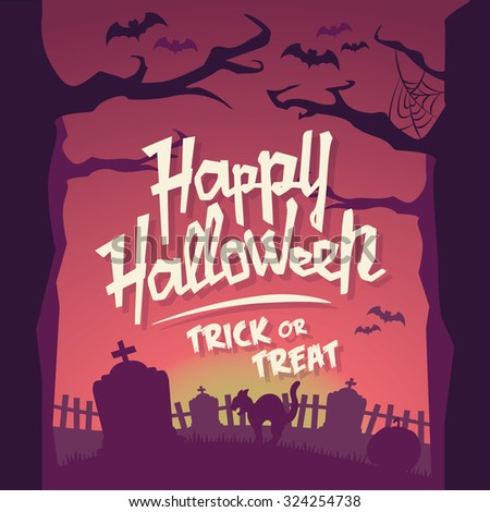 Scary Halloween Vector Background - Trick or Treat - stock vector