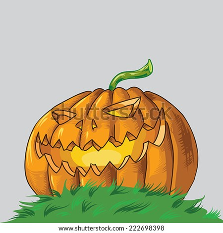 Scary Halloween Vector Pumpkin in the grass from downwards perspective