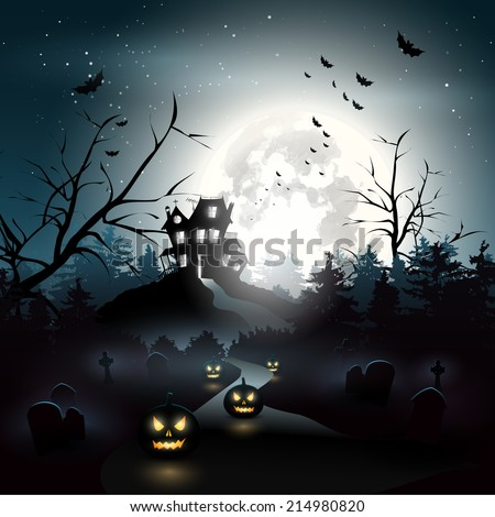 Scary house in the woods - Halloween background - stock vector