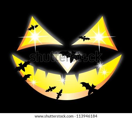 Scary Jack O Lantern halloween pumpkin on  black background, EPS10 - stock vector
