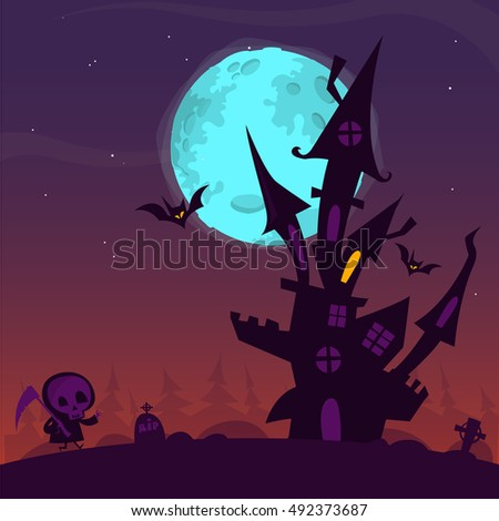 Scary old ghost haunted house with cemetery and walking death. Halloween card or poster. Vector cartoon illustration