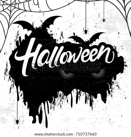 Halloween banner calligraphy with Scary elements such as Bat, Halloween Eye ,web and Spider with Handmade vector lettering 3d Text Halloween on black brush strokes for Halloween party celebration