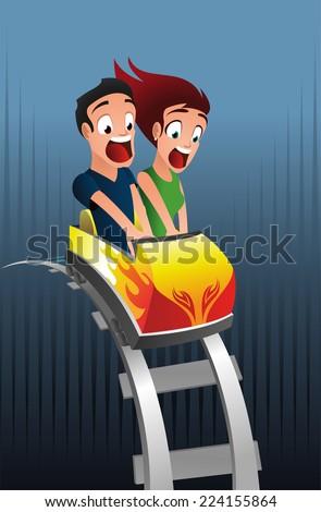 Scary roller-coaster rollercoaster amusement park - stock vector