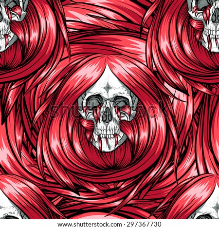 Scary seamless skull pattern with red long hair. - stock vector