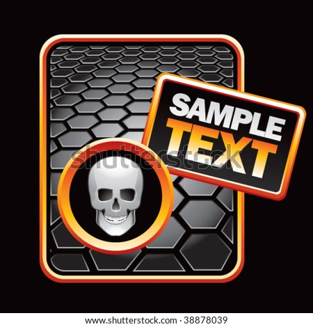 scary skull on black hexagon template