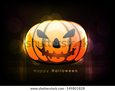 Scary smiling Halloween Pumpkin on dark background, Can be use as poster, flyer or banner for  Halloween Party.
