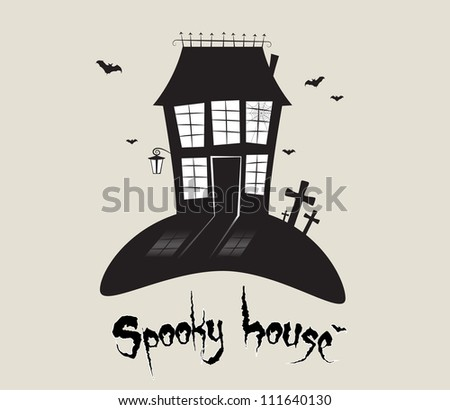 Scary spooky house, Halloween theme in vector - stock vector