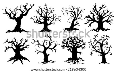 scary tree silhouettes on the white background - stock vector