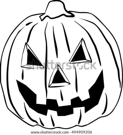 Scary Vector Pumpkin Empty Coloring Book Stock Vector 494909206 ...