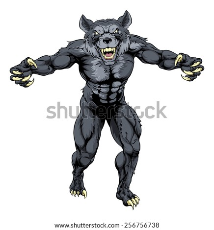 Scary wolfman werewolf or wolf animal mascot illustration  - stock vector