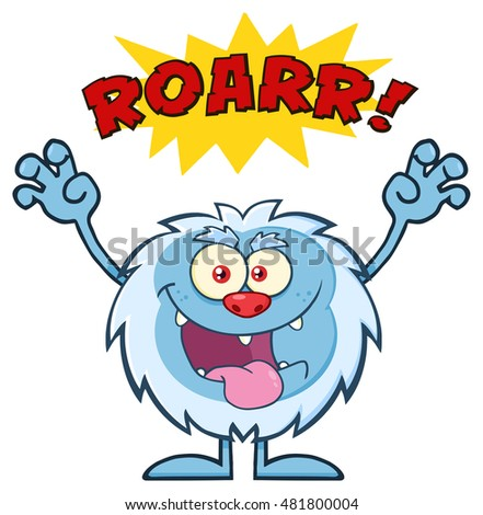 Scary Yeti Cartoon Mascot Character With Angry Roar Sound Effect Text. Vector Illustration Isolated On White Background