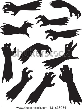 Scary zombie hands silhouettes. - stock vector