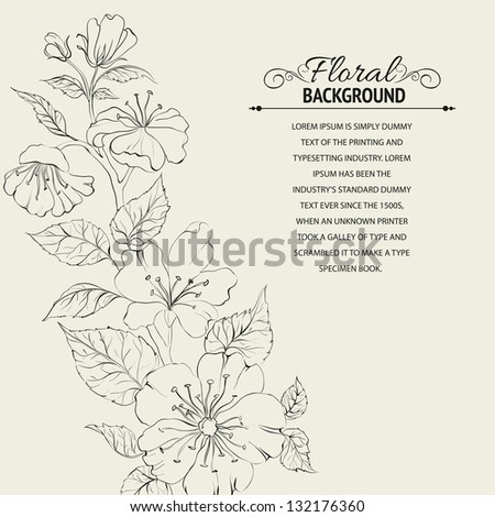 Scatch of spring sakura. Vector illustration, contains transparencies, gradients and effects.