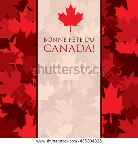Scatter Canada Day maple leaf card in vector format. Translation: 'Happy Canada Day""